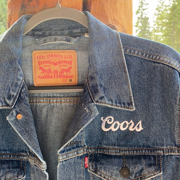 """Levi's jean jacket with """"Coors"""" white embroidery"""